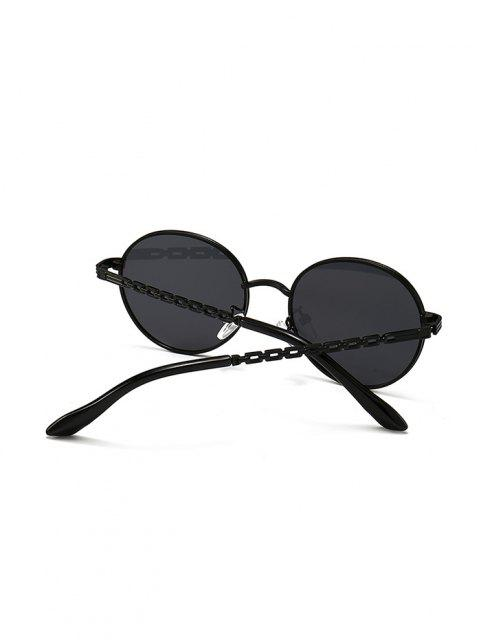 lady Hollow Out Temple Metal Round Sunglasses - BLACK  Mobile
