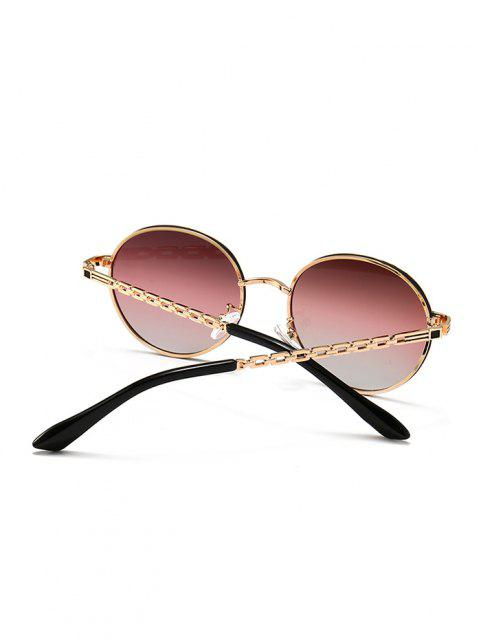 best Hollow Out Temple Metal Round Sunglasses - TULIP PINK  Mobile
