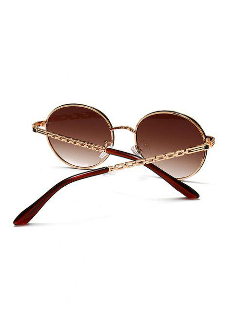 new Hollow Out Temple Metal Round Sunglasses - BROWN BEAR  Mobile