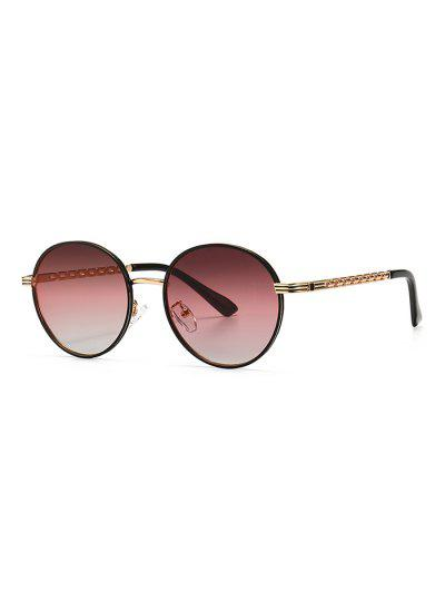 Hollow Out Temple Metal Round Sunglasses - Tulip Pink
