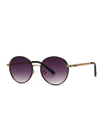Hollow Out Temple Metal Round Sunglasses - Viola Purple