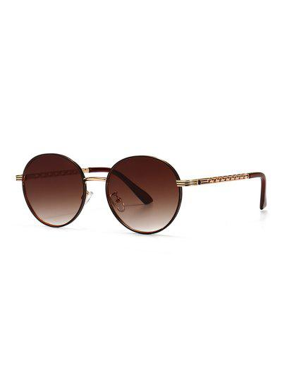 Hollow Out Temple Metal Round Sunglasses - Brown Bear