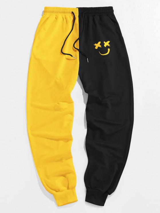 fashion ZAFUL Cartoon Print Two Tone Sweatpants - BRIGHT YELLOW M