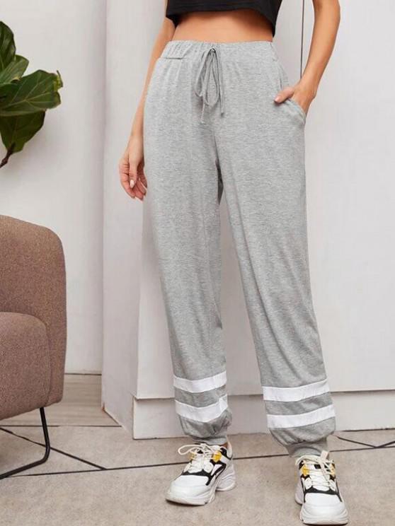 women Contrast Drawstring Jogger Pants - DARK GRAY L