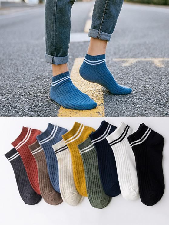 10 Pairs Striped Ankle Socks Set - متعدد