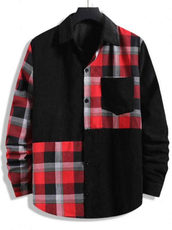buy Plaid Patchwork Pocket Corduroy Shirt - BLACK XXL