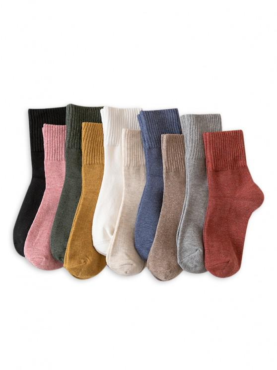 new Cotton Solid Mid-calf Length Socks - MULTI