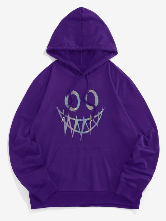 fancy ZAFUL Luminous Cartoon Print Kangaroo Pocket Hoodie - PURPLE S