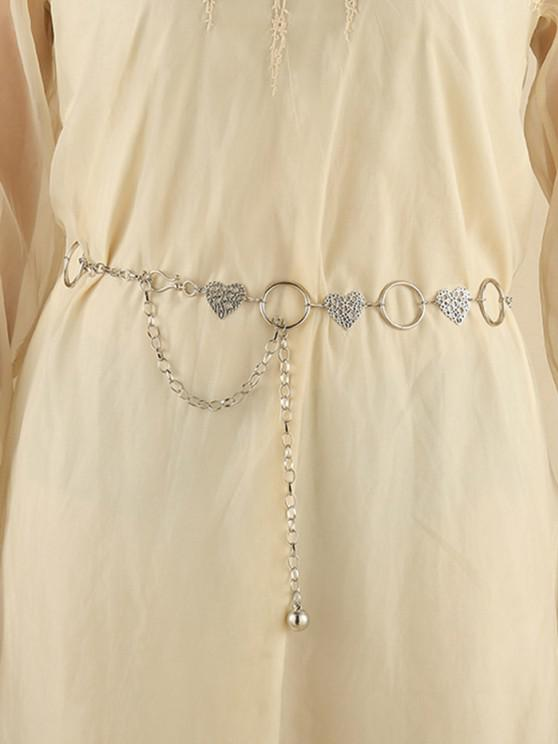 women Hollow Floral Heart Shape Waist Chain - SILVER