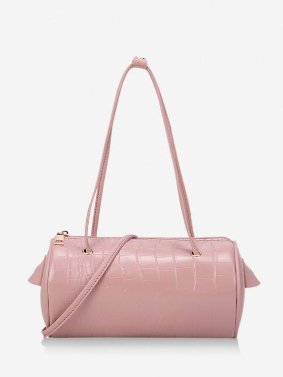 trendy Solid Cylinder Mini Crossbody Shoulder Bag - PINK