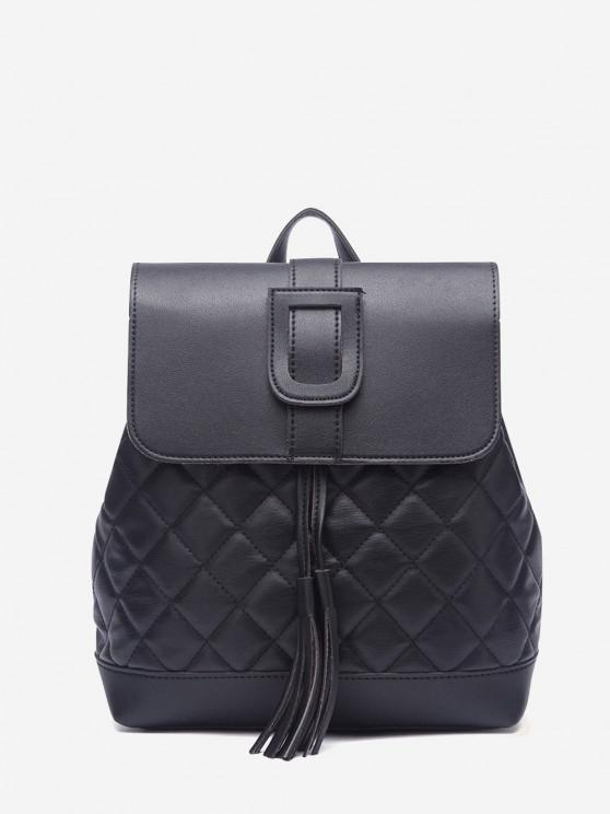 Quilted Drawstring Cover Backpack - أسود