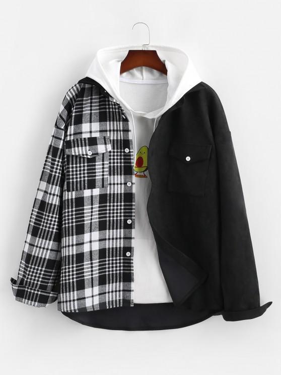 women's Plaid Panel Long Sleeve Suede Shirt - BLACK 2XL