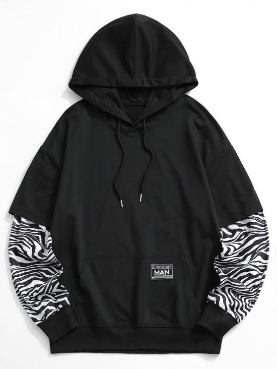 Zebra Print Faux Twinset Hoodie - أسود 2XL