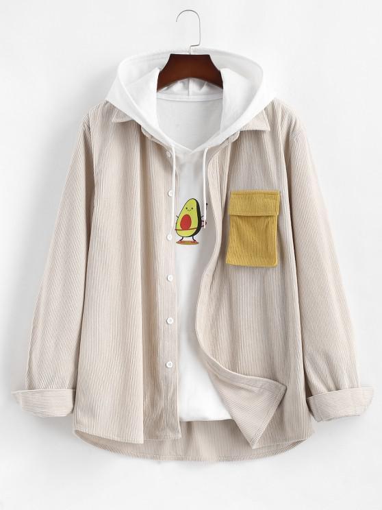 hot Corduroy Colorblock Pocket Long Sleeve Shirt - LIGHT COFFEE XL
