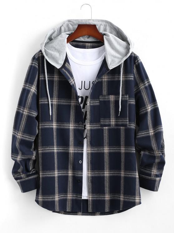 outfit Long Sleeve Hooded Plaid Print Pocket Shirt - DEEP BLUE 2XL