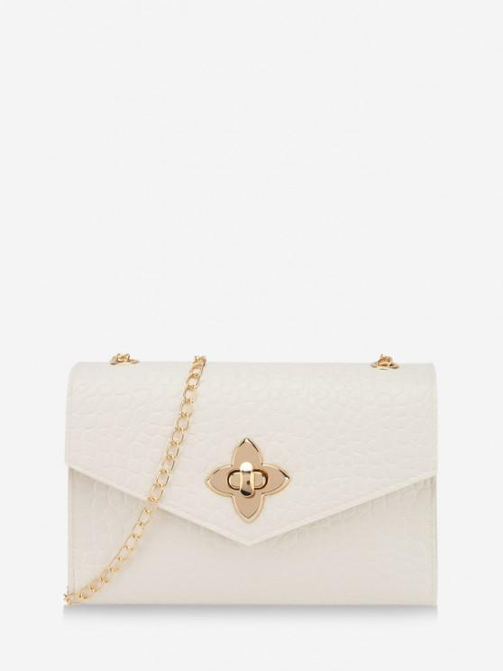 trendy Chain Lucky Clover Buckle Crossbody Bag - WHITE