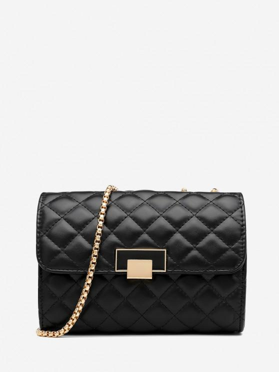 fashion Geometric Pattern Quilted Crossbody Bag - BLACK