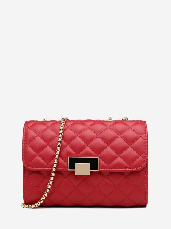 chic Geometric Pattern Quilted Crossbody Bag - RED WINE