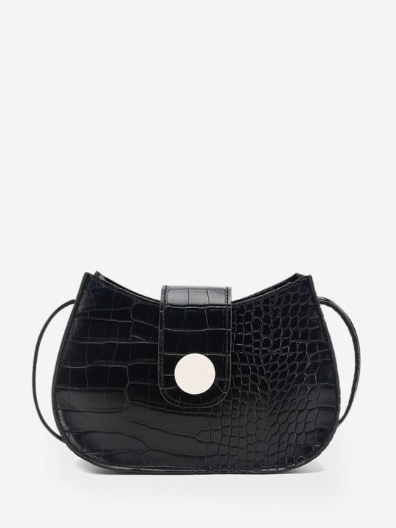 fancy Textured Button Crossbody Bag - BLACK