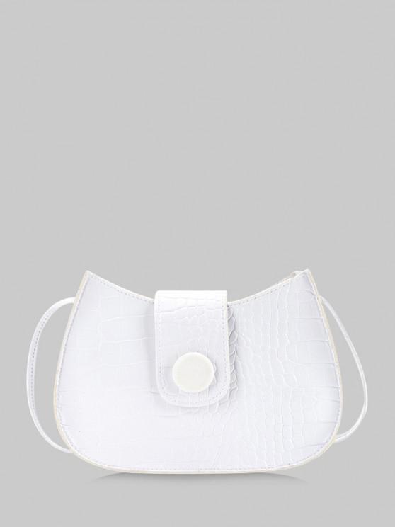 unique Textured Button Crossbody Bag - WHITE
