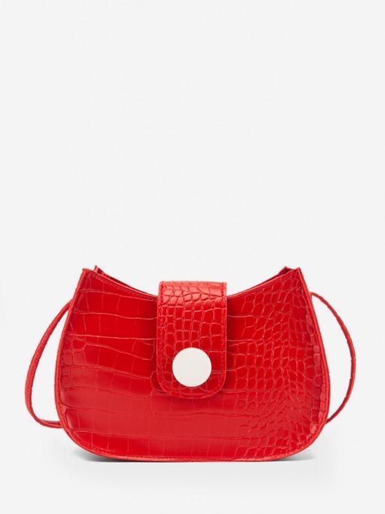 Sac à Bandoulière Texturé avec Bouton - Rouge