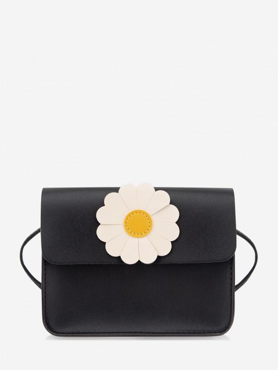 affordable Daisy Flower Pattern Crossbody Bag - BLACK