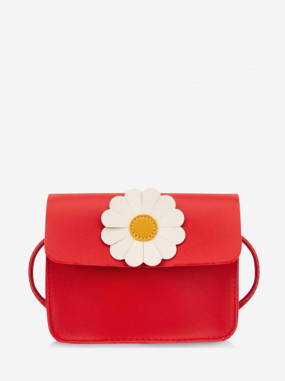 Daisy Flower Pattern Crossbody Bag - أحمر