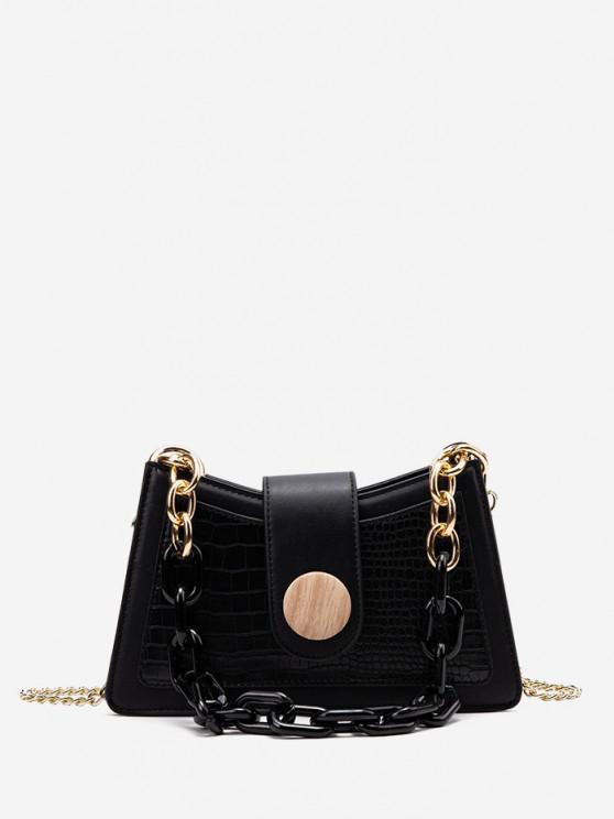 ladies Button Chain Crossbody Bag - BLACK