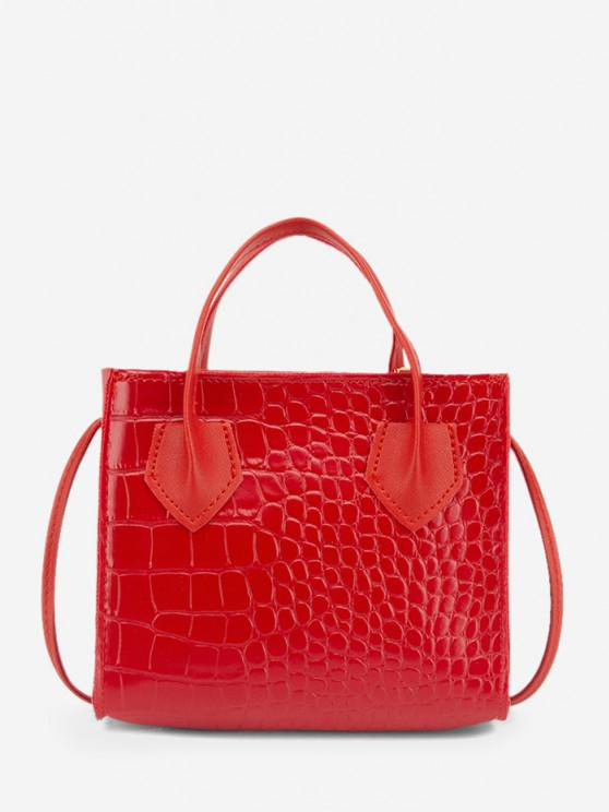 new Square Solid Crossbody Bag - RUBY RED