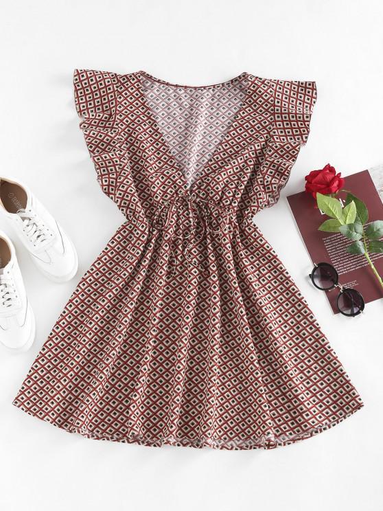 ladies ZAFUL Geo Butterfly Sleeve Plunging Mini Dress - MULTI L