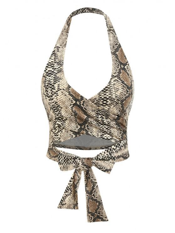 unique ZAFUL Snakeskin Halter Backless Wrap Tank Top - LIGHT COFFEE M