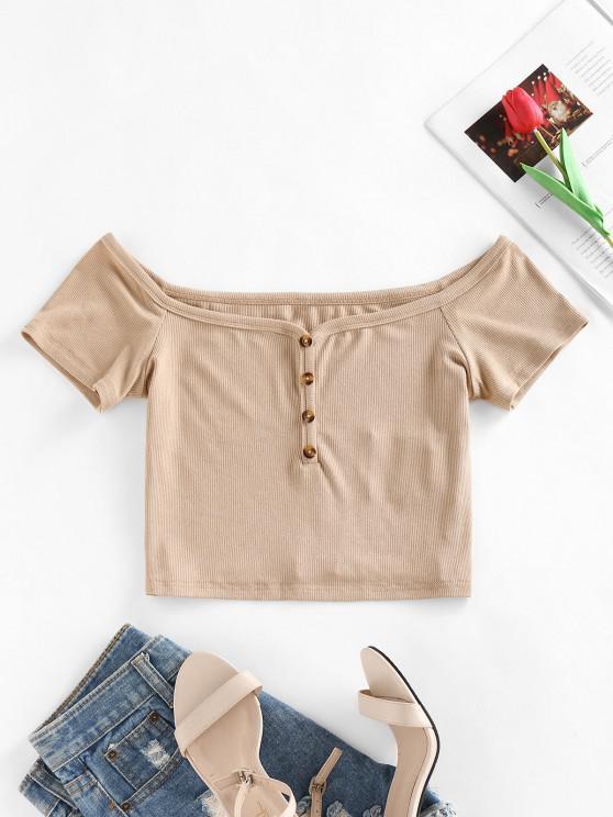 ZAFUL Schulterfreies Geknöpftes T-Shirt mit Rippen - Licht Kaffee S