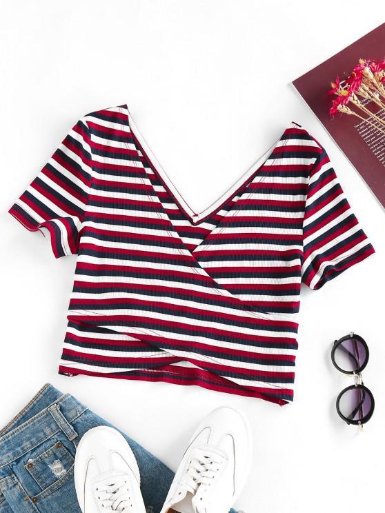shops ZAFUL Ribbed Striped Criss Cross Crop T Shirt - MULTI S