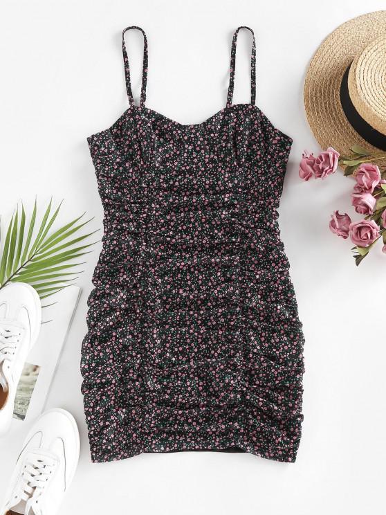 trendy ZAFUL Ditsy Floral Ruched Slip Bodycon Dress - BLACK L