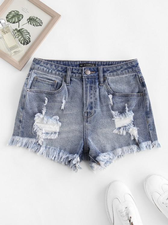 shop Frayed Ripped Denim Shorts with Pocket - BLUE M