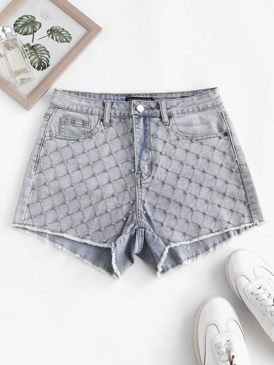 Rhinestone Frayed Light Wash Denim Shorts - أزرق فاتح L