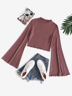 ZAFUL Bell Sleeve Lettuce Trim Cropped Knitwear - Rosy Brown Xl