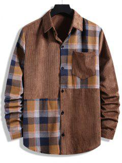 Plaid Patchwork Pocket Corduroy Shirt - Brown Xxl