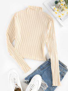 ZAFUL Lettuce Trim Ribbed Knit T Shirt - Light Yellow S
