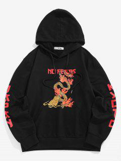 No Fears Chinoiserie Dragon Graphic Hoodie - Black S
