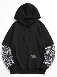 Zebra Print Faux Twinset Hoodie - Black Xl