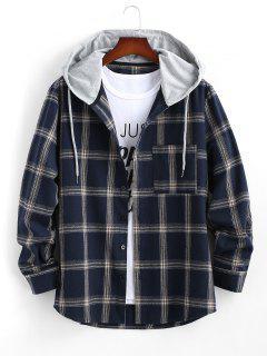 Long Sleeve Hooded Plaid Print Pocket Shirt - Deep Blue Xs