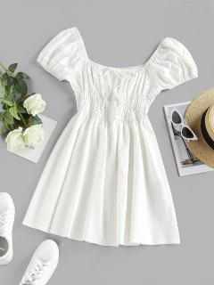 ZAFUL Smocked Tie A Line Puff Sleeve Dress - White S