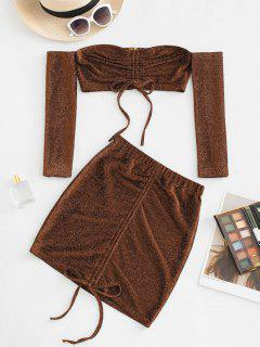 Off Shoulder Metallic Thread Cinched Ruched Slinky Two Piece Dress - Coffee M