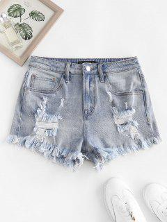 Frayed Ripped Denim Shorts With Pocket - Light Blue M