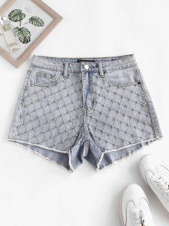 Rhinestone Frayed Light Wash Denim Shorts - Light Blue L