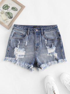 Frayed Ripped Denim Shorts With Pocket - Blue S