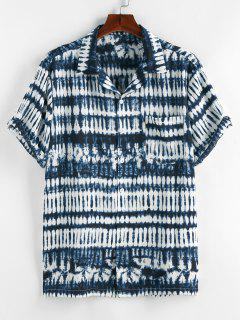 ZAFUL Tie Dye Print Pocket Short Sleeve Shirt - Deep Blue M