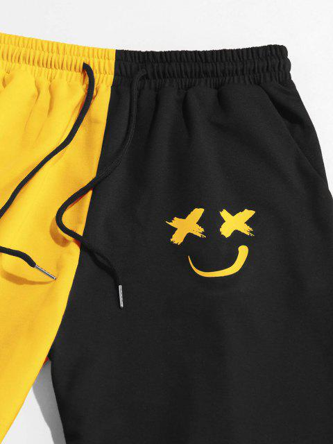ZAFUL Pantalones Deportivos de Dos Colores con Estampado de Dibujo Animado - Amarillo Brillante M Mobile