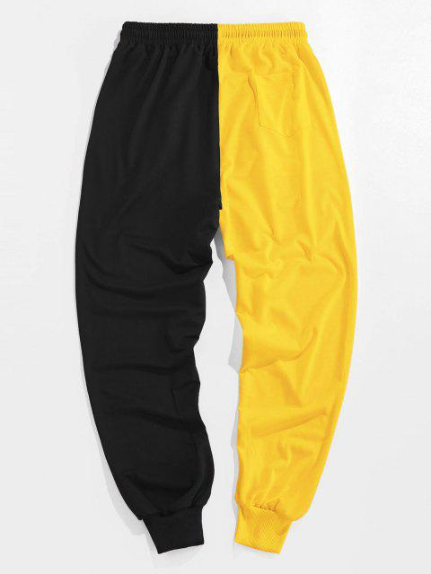 chic ZAFUL Cartoon Print Two Tone Sweatpants - BRIGHT YELLOW L Mobile